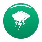 Cloud Thunder Flash Icon. Simple Illustration Of Cloud Thunder Flash Vector Icon For Any Design Gree poster