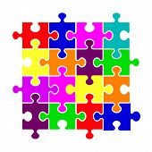 Colorful Pieces Background Puzzle. Jigsaw Banner. Vector Illustration Template. Puzzle Game, Puzzles poster