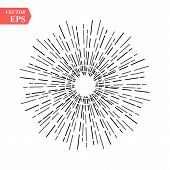 Light Rays, Sunburst And Rays Of Sun. Design Elements, Linear Drawing, Vintage Hipster Style. Light  poster