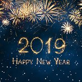 Greeting Card Happy New Year 2019. Beautiful Square Holiday Web Banner Or Billboard With Golden Spar poster