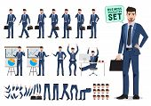 Male Business Character Vector Set. Business Man Cartoon Character Creation Set Holding Briefcase An poster