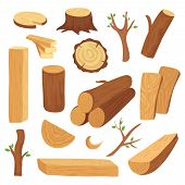 Wood Log And Trunk. Cartoon Wooden Lumber, Plank. Forestry Construction Materials Vector Isolated Se poster
