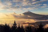 Aerial View Of Mountain Fuji With Morning Mist Or Fog At Sunrise In Fujikawaguchiko, Yamanashi, Japa poster