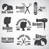 Set Of Vector Emblem, Label, Badge, Logos For Hairdressers Salon, Hair, Beauty Salon. poster