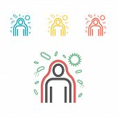 Immunity System Line Icon. Human Immune System Vector Design. Virus And Bacteria Illustration poster