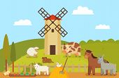 Windmill And Farm Landscape, Animals And Mammals. Hen On Hay, Sheep And Horse, Donkey And Cow. Rabbi poster