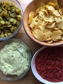 Tasty Mexican Food Like Nachos With Guacamole And Salsa Sauce poster