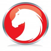 image of horse head  - Horse button sign - JPG