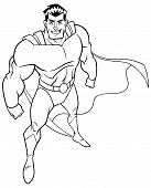High-angle Line Art Illustration Of Powerful And Determined Man Wearing Superhero Costume During Cou poster