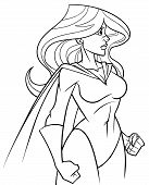 Side View Line Art Illustration Of Powerful And Determined Superheroine With Cape Looking Forward Re poster