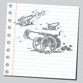 foto of cannon-ball  - Scribble cannons - JPG