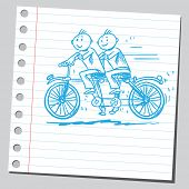 Sketchy illustration of a tandem bike