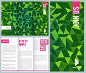 Business Leaflet. Folding Trifold Brochure Design Template Vector Mockup With Place For Your Text. I poster