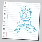 stock photo of hand drawn  - Sketch of a fountain - JPG