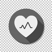 Cardiac Pulse. Heart And Pulse Line. Simple Single Icon. White Flat Icon With Long Shadow In Circle  poster