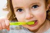 pic of bristle brush  - A little girl brushing her teeth against a white background - JPG