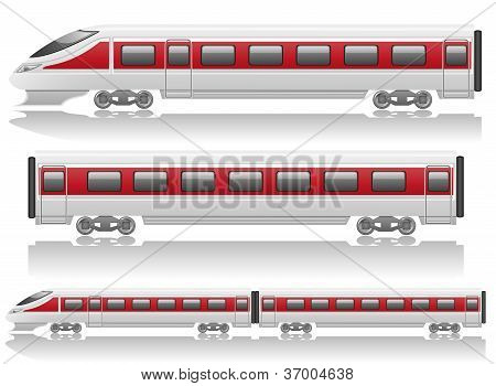 Speed Train Locomotive And Wagon Vector Illustration