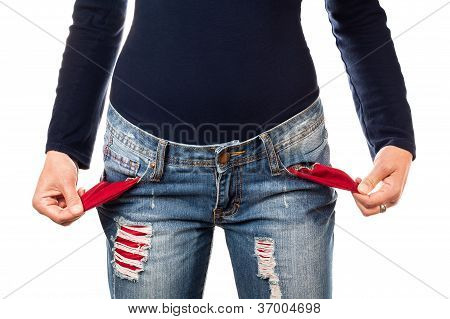 Woman with empty pocket.