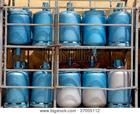 Storage With Bottles Of Gas