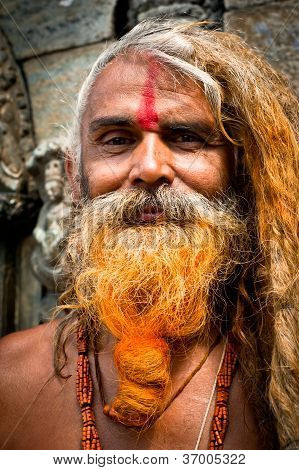 Portrait Of Holy Sadhu Man