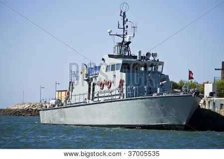 Anchored Military Frigate Ship