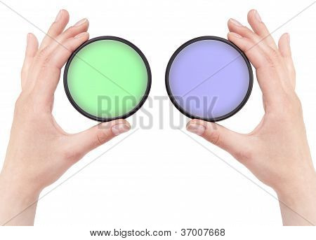 Hand Holding Camera Filter Isolated