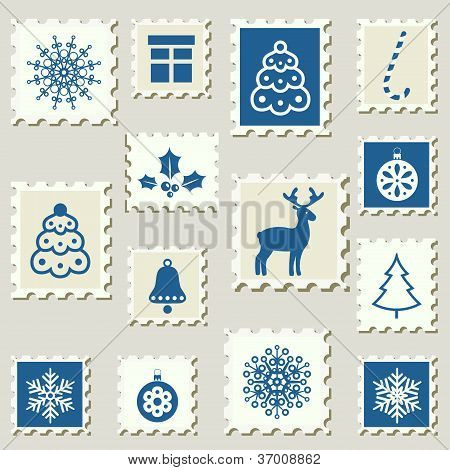 Postage Stamps with Christmas decoration objects.set.