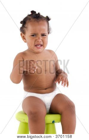 Adorable African Baby Crying For A Tantrum