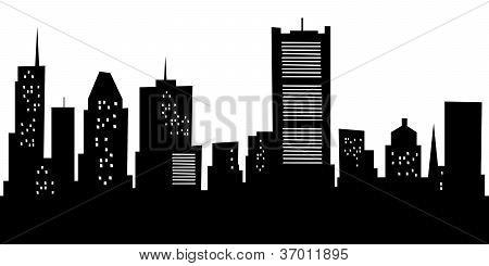 Cartoon Montreal Skyline