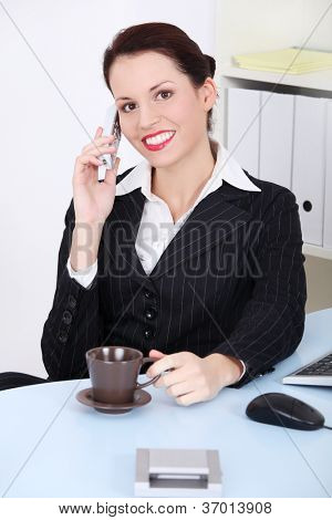 Portrait of happy smiling cheerful beautiful young businesswoman with phone