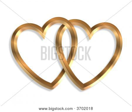 Linked Gold Hearts 3D Icon