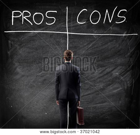 Man looking at the blackboard