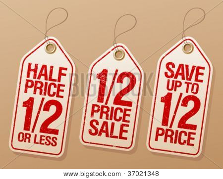 Half price save, promotional sale labels set.