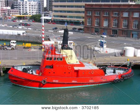Fireboat In Harbor Wellington