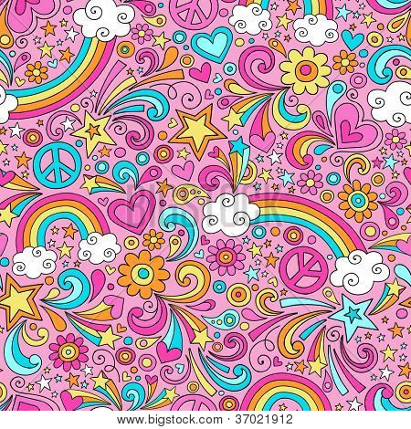 Seamless Pattern Psychedelic Rainbows Groovy Peace Notebook Doodle Design- Hand-Drawn Vector Illustration Background