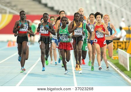 BARCELONA- JULY 11: Competitors of 5000 meters during the 20th World Junior Athletics Championships at the Olympic Stadium on July 10, 2012 in Barcelona, Spain
