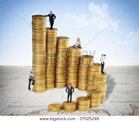 euro coin piles and business people