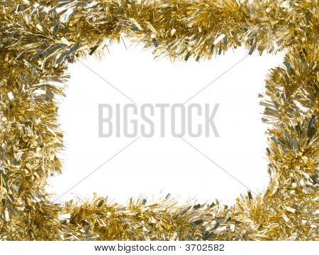 Gold Christmas Garland, Rectangular Frame, Isolated On White