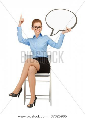 picture of smiling businesswoman with blank text bubble in specs