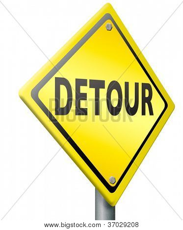 detour road sign access denied signpost isolated