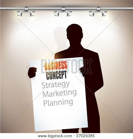 Young business man with white blank board.  Vector background