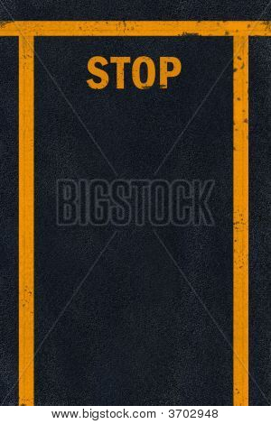Yellow Stop Sign Marking On Black Fresh Asphalt Pavement