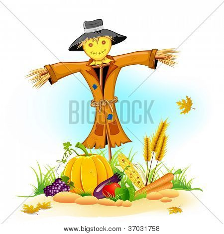 illustration of scarecrow with Thanksgiving vegetable