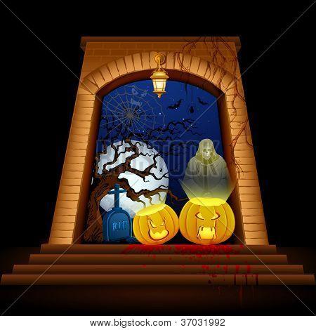 illustration of jack-o-lantern with grim on Halloween night