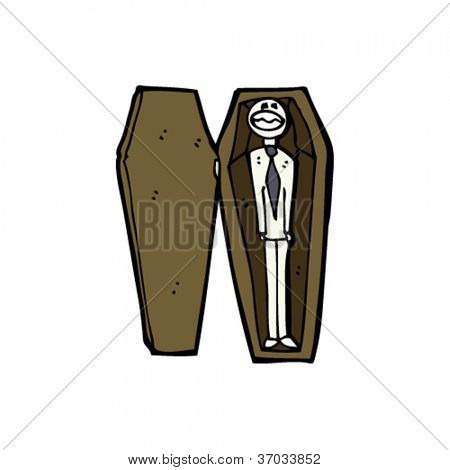 cartoon corpse in coffin