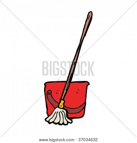 mop and bucket cartoon
