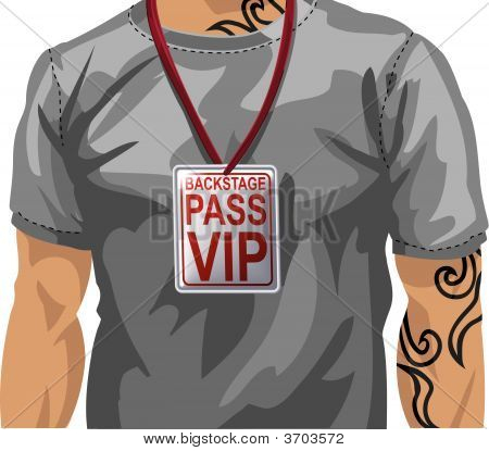Illustration Of Man Wearing Vip Badge