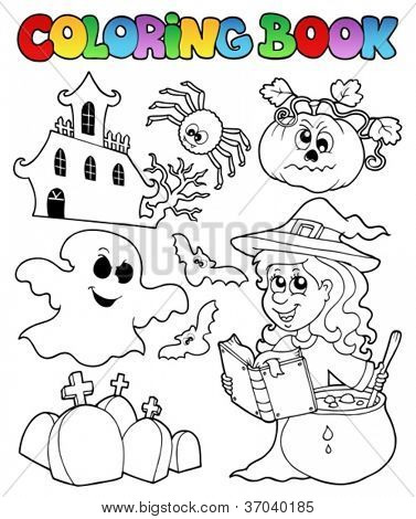 Coloring book Halloween topic 8 - vector illustration.