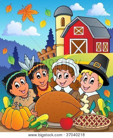 Thanksgiving pilgrim theme 4 - vector illustration.