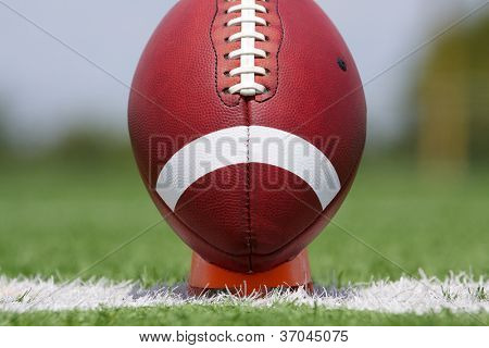 American Football on a Tee ready for kickoff